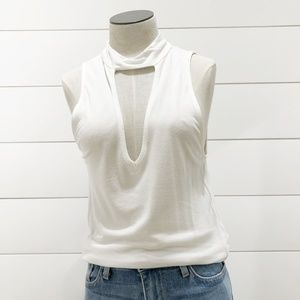Project Social T Keyhole High Neck Tank Top - Whit